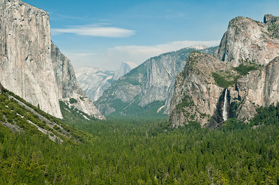 """The classic """"Tunnel View"""" - Half Dome in the distance, El Capitan on the left, Bridal Veil falls on the right"""