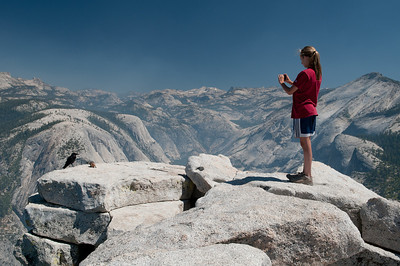 Sara taking pictures of the Half Dome wildlife