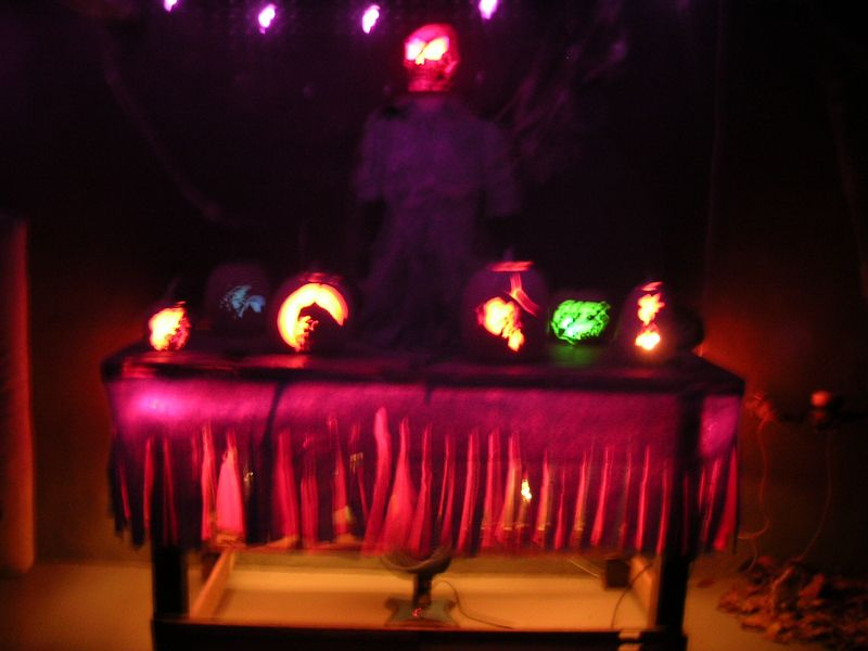Halloween party at my Dad's house in Spokane.  Look at the eeirie skull and pumpkins (Even if they are out of focus).