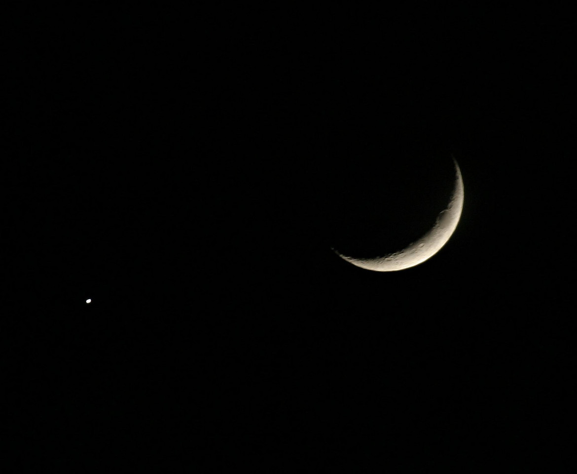 The Moon and a Star or planet doing a weird formation. <br /> Don't bother viewing this one at the largest size-the moon is blurry. But it's brighter in this photo which helps show it off.