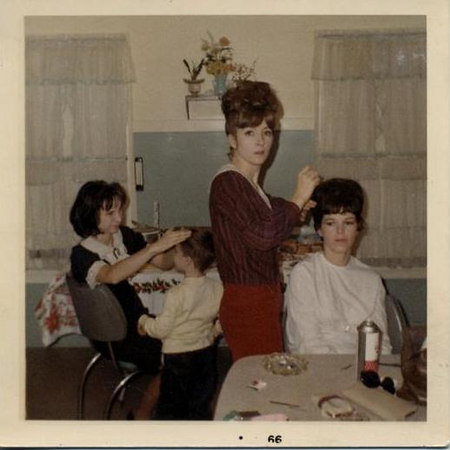 Robin, Ruth, Marge and Jeff primping for Christmas, 1966.