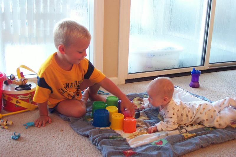 Wyatt likes baby Aaron