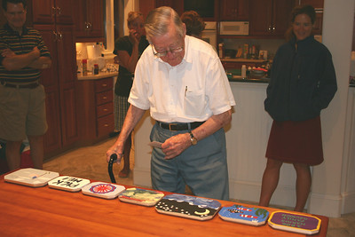 Daddy judging the plaques