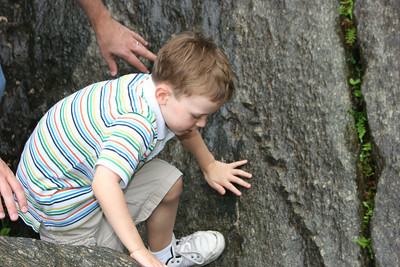 Aaron rock climbing - Dad's hands close by