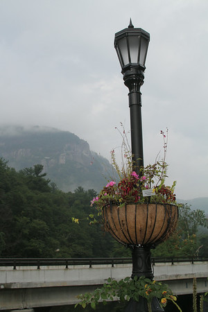 Flowering Bridge lamp post with Chimney Rock in the background