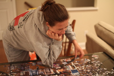 "Anne working on the ""Doors"" puzzle"