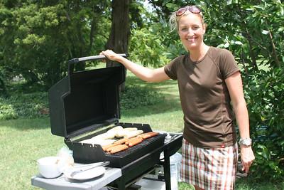 Caroline grilling lunch