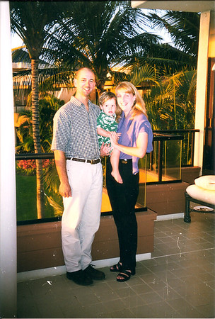 Caroline, Chris & Caleb (ini his Hawaiian outfit)