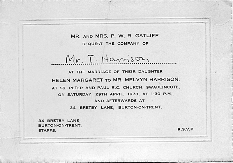 Melvyn and Helen Wedding invitation