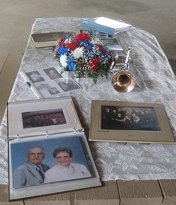 Photos and mementos of Emmet's life, displayed at the Harstine Reunion in New Philadephia, Sunday, August 2, 2009.