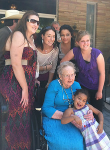 Mrs. John H. Harstine (Ena Rae Kingsbury) posing with the family of her son James E. Harstine. Granddaughters Melody, Tiffany, Lacey, Courtney, and great-granddaughter A'Rayiah  (Lacey's daughter).