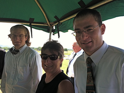 Ben, Deb (Mrs. Stanley Harstine), and Nate, with Jim Harstine in background, at cemetery, Barnsdall, Oklahoma, June 23, 2012.   Nate rode with us on the long drive from the funeral home in KS to Barndall, OK, where their grandparents had once lived.