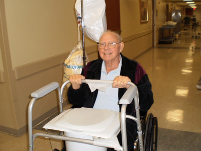 Happy to be leaving the hospital, even though he feels weak