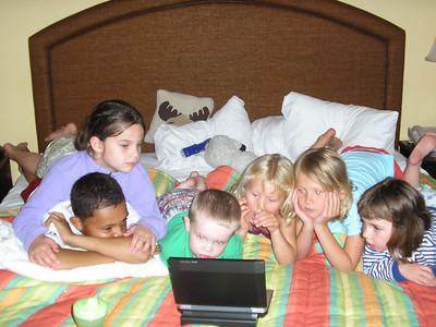 Watching movies with my cousins, from left to right, Dee, Sloane, Alex, Lucy, Haley and Izzy