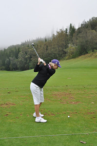 Christine's perfect backswing at the driving range