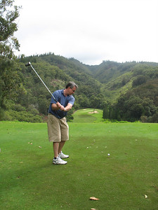 John teeing off at the 17th hole.