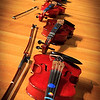 Violins waiting to be played