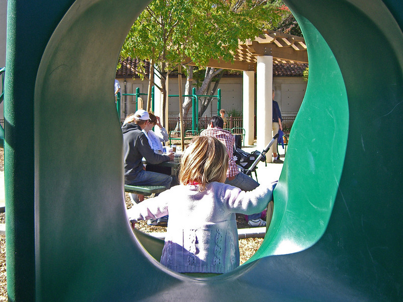Next morning, Heritage Park, downtown PA. Hazel down the small slide. 001