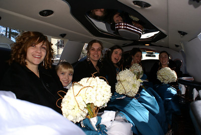 The bridal party riding in style.