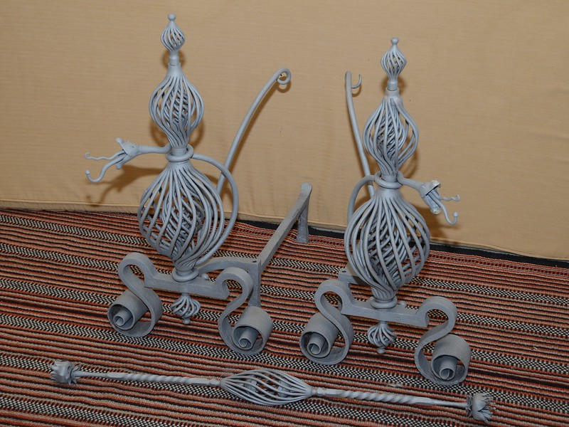 Family heirloom andirons after being sand blasted