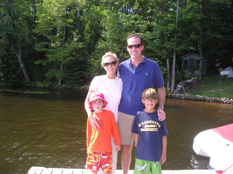 Cousin John Hill in Wisconsin with Karry and twins, Henry and John