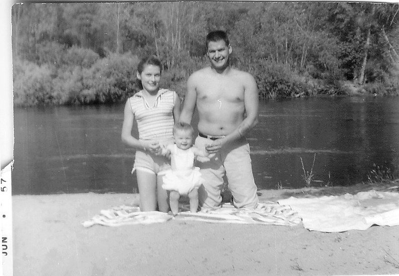 June 1957, Adrienne and Ray Martin on some River with Suzette