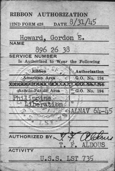 GordonHowardSrNavyRibbonCardfront