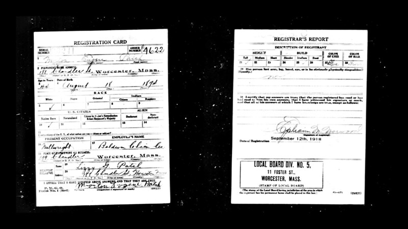 Morton Patch WWI Draft Registration Card