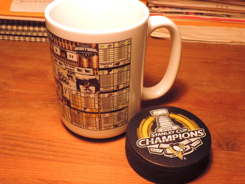 This is the swag we agreed on as a family, a team championship puck & a mug with the winner's chart.
