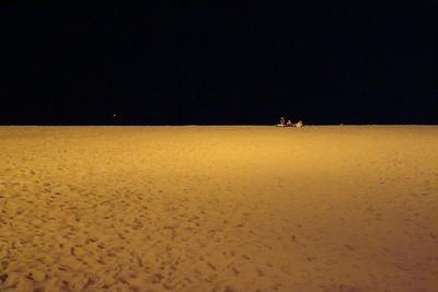 The beach at night.