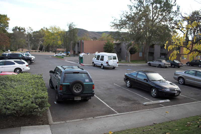 The empty spot to the right of the green SUV used to be ours...