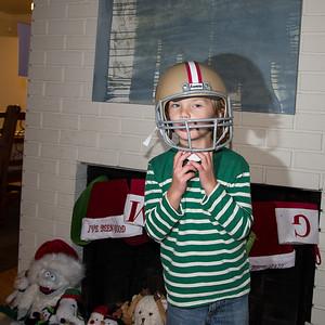 Saxon in his 49ers helmet.