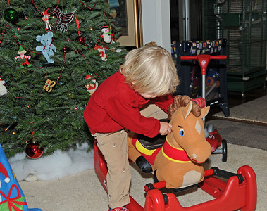 Grant trying to ride he and Saxon's new pony.