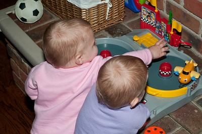 Elsa (pink) and Saga (purple) busy at play.