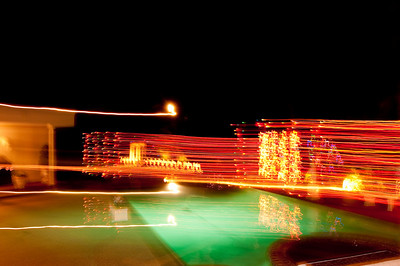 Festive lights over the pool.
