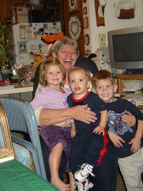 Grandma Driggs with Nat, Jared, and Cam