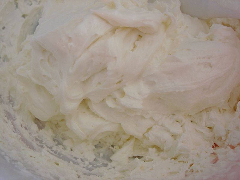 frosting: cream cheese being folded into whip cream (with hints of lemon and vanilla)