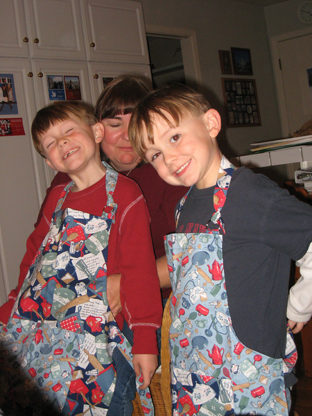 Patrick and Andrew got matching aprons.