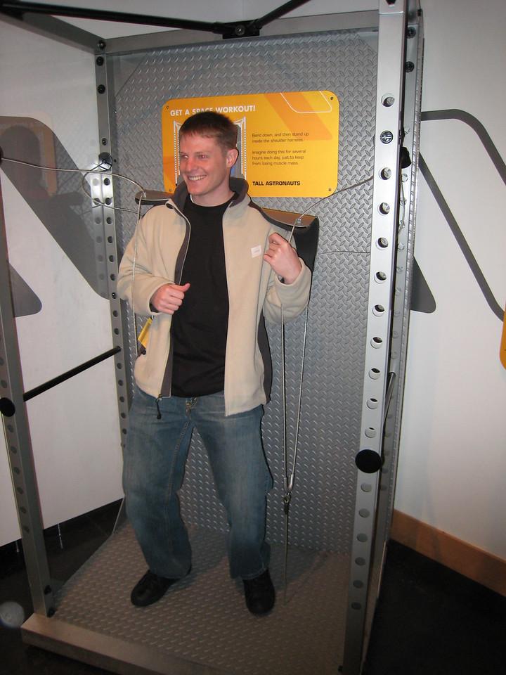 Ryan Thomas tries the astronaut's workout.