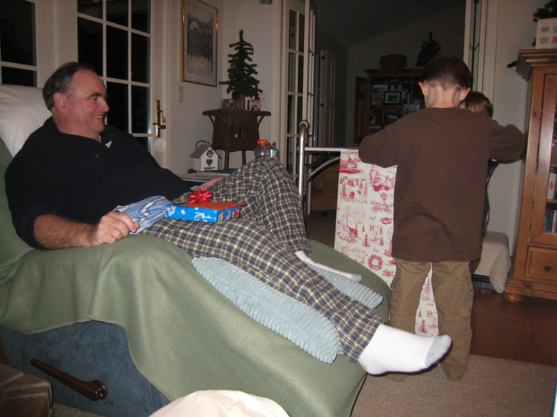 Patrick and Andrew were more than happy to help open Dad's gifts.