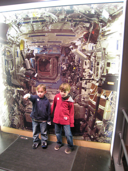 Patrick and Andrew in a space ship.