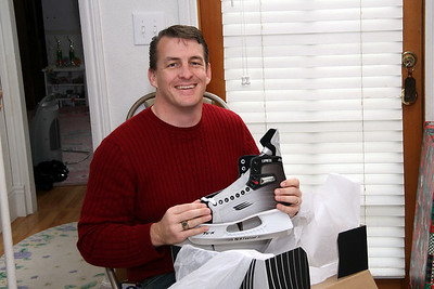 Tim gets new ice skates - getting ready to keep up with power forward Carter Chadwick.