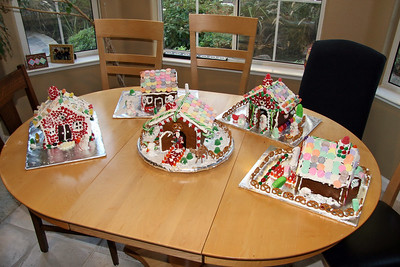 So here they are...the finished houses! Sorry, I was too busy with the decorating, so no photos of the work in progress.