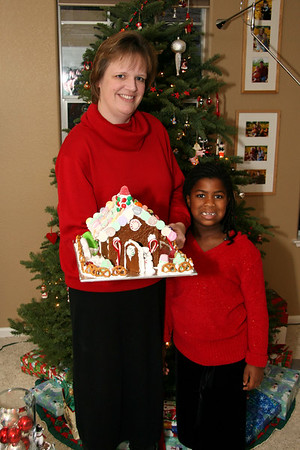 Erin and Brianna show off their masterpiece.