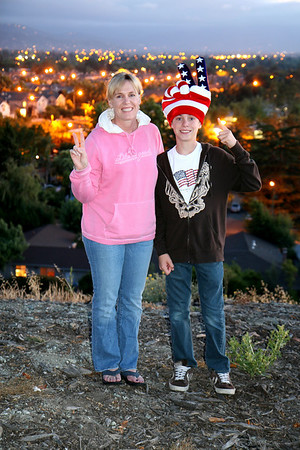 Sara and Joey enjoy the view overlooking our neighborhood below. Prior to the local display, we were able to see many different fireworks shows in the distance (Great America, SJ Giants, etc).