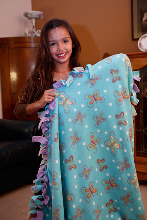 Alexa shows us the butterfly blanket.