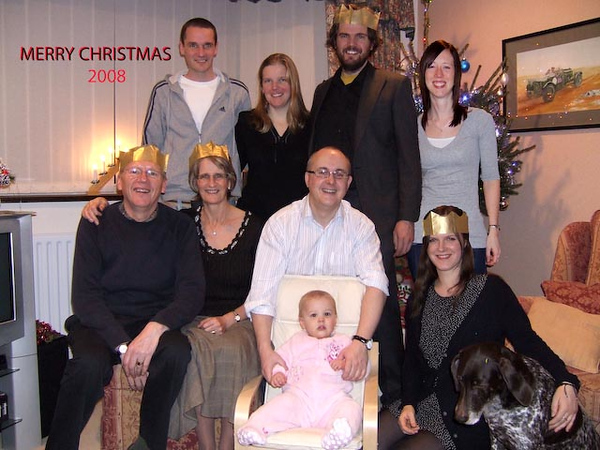 Landsburgh's at Christmas 2008. Back row: Steven, Cathy, Gordon and Claire. Front row: Alan, Myra, David, Niamh and Sarah.
