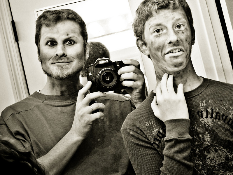 You can't see it, but Tim had a large mole on his left cheek (left side in this mirror photo), and another big sore on his neck.