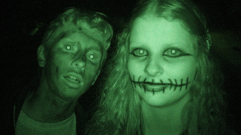 Taken with the camcorder's infra-red mode.  At this point, they had both turned into zombies.
