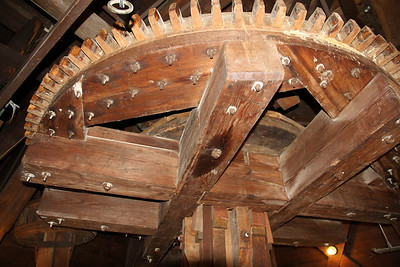 Looking up at the workings of the mill